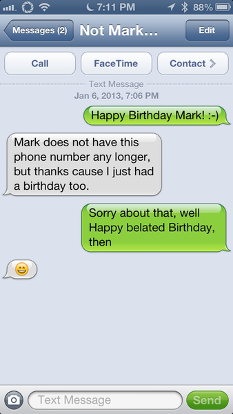 I sent Birthday Wishes to a random person.